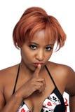 美丽的秘密的红头发人, Headshot 免版税库存图片
