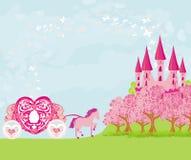 美丽的童话桃红色城堡 库存照片