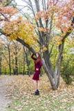 美丽的端庄的妇女在一个公园在秋天 图库摄影