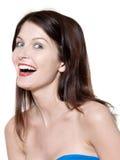 美丽的笑的纵向妇女 免版税库存照片