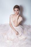 美丽的精美软的桃红色skazachno婚礼礼服的新娘性感的女孩与在胸口和后面的裁减与构成和晚上h 免版税库存图片