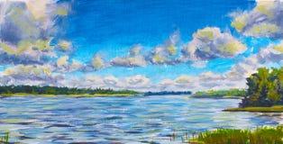 美丽的紫色河,反对蓝天,绿河的大云彩在帆布开户,俄国湖原始的油画 五颜六色 免版税库存照片