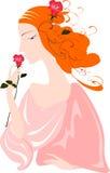 美丽的红发女孩与起来了 库存图片