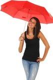 美丽的红色伞妇女 免版税库存图片