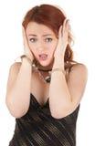 美丽的红色女孩头发的手铐 库存图片