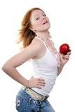 美丽的红色性感的妇女年轻人 免版税图库摄影