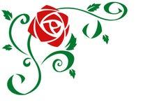 美丽的红色玫瑰开花例证 免版税库存图片