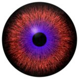 美丽的红色眼睛和紫色回合3d万圣夜眼珠 向量例证