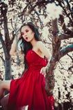 美丽的红色礼服的亚裔妇女 免版税库存照片
