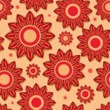 美丽的红色花无缝的模式 免版税图库摄影