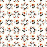 美丽的红色郁金香花盘旋时尚、织品、墙纸和所有印刷品的重复无缝的样式传染媒介设计 向量例证