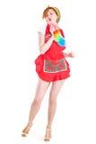 美丽的红色头发妇女的图片有横扫的 免版税库存图片