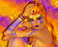 美丽的红色头发,时尚,构成抽象图象 3d回报艺术 库存照片