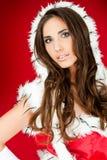 美丽的纵向圣诞老人性感的妇女 库存照片