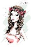 美丽的纵向妇女年轻人 花花圈的时尚妇女 逗人喜爱的女孩 草图 向量例证