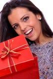 美丽的纵向微笑的冬天妇女年轻人 免版税库存照片