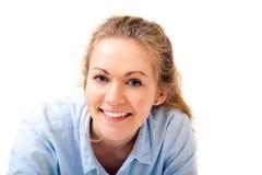 美丽的纵向微笑的妇女年轻人 免版税图库摄影