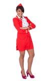 美丽的纵向空中小姐年轻人 免版税库存图片