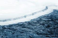 美丽的结冰的瀑布在中央挪威 与一条冻河的冬天风景 免版税库存图片