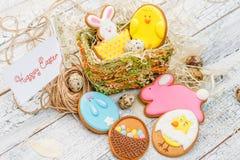 美丽的给上釉的复活节曲奇饼 免版税库存照片