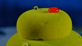 美丽的绿色蛋糕 与下落的美丽的绿色蛋糕 免版税图库摄影