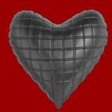美丽的缝制的光滑的皮革心形的枕头 塑造爱的,浪漫史,情人节手工制造概念 库存图片