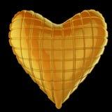 美丽的缝制的光滑的皮革心形的枕头 塑造爱的,浪漫史,情人节手工制造概念 免版税库存照片