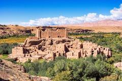 美丽的罗斯谷- Vallee des玫瑰,在瓦尔扎扎特附近,摩洛哥 库存图片