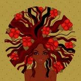 美丽的美国黑人的女孩的传染媒介例证 免版税库存图片