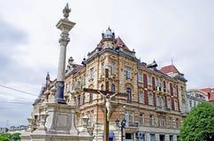 美丽的老大厦在Lvov 库存照片