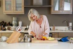 美丽的老妇人在切开健康新鲜蔬菜的厨房里 免版税图库摄影