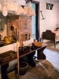 美丽的老房子内部在Wallachian村庄 免版税库存照片