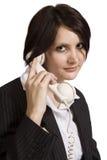 美丽的老电话职业妇女年轻人 库存照片