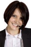 美丽的耳机职业妇女年轻人 库存图片