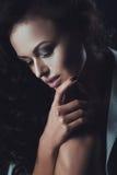 美丽的肉欲的妇女纵向有典雅的发型的 图库摄影