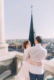 美丽的肉欲的白肤金发的拥抱新娘和英俊的新郎看彼此在城堡阳台 图库摄影