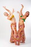 美丽的肚皮舞表演者的画象 图库摄影