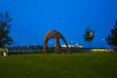 美丽的胡同在公园,华沙,波兰,欧洲 库存图片