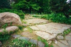 美丽的胡同在公园 庭院园艺的设计 库存照片