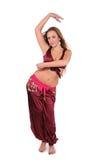 美丽的腹部服装舞蹈演员红色年轻人 免版税库存图片