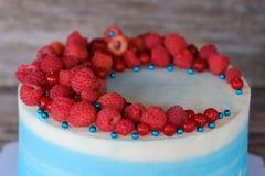 美丽的自创蛋糕用蓝色奶油和莓和无核小葡萄干莓果 免版税库存图片