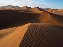 美丽的自然弯曲的土坎线和风吹生锈的红色在浩大的沙漠风景的沙丘和阴影的样式与树荫的 库存图片