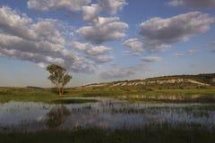 美丽的自然河云彩有益于旅行 免版税库存图片