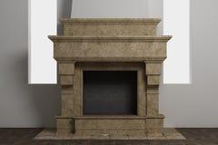 美丽的自然石头时髦的家庭壁炉  免版税库存图片