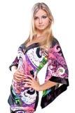 美丽的色的礼服妇女 免版税库存图片
