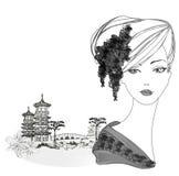 美丽的艺妓画象和亚洲风景 皇族释放例证