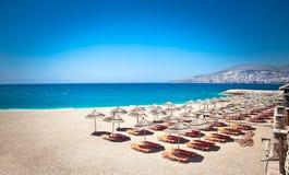 美丽的芒果海滩在Saranda,阿尔巴尼亚 库存照片