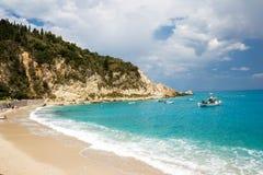 美丽的芦粟在莱夫卡斯州海岛,希腊-11上靠岸 免版税库存照片