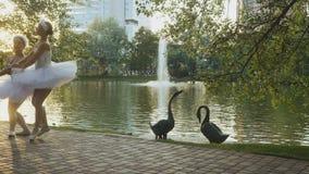 美丽的芭蕾舞女演员在公园跳舞在有天鹅的池塘附近在背景 影视素材