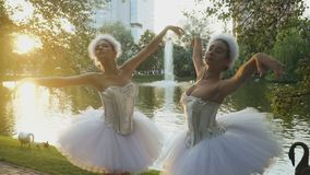 美丽的芭蕾舞女演员执行一个舞蹈在日落背景 股票录像